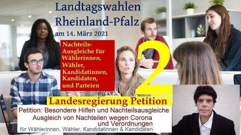 Andreas Klamm hat eine Petition für Nachteils-Ausgleiche in Bezug zu den Landtagswahl an die Landesregierung nach Mainz gesendet: